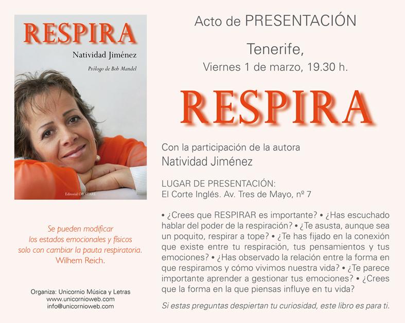 Presentación del libro: RESPIRA (Tenerife)